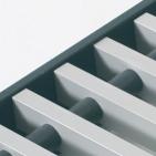 Convectorput rooster grijs aluminium, rolrooster grijs aluminium.