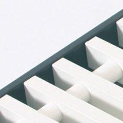 Rolrooster vervaardigd uit wit aluminium